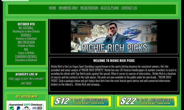 Richie Rich Picks – The Las Vegas Sports Gambling Legend – Get the best sports gambling information money can buy…