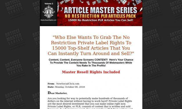 Article Master Series :: 15000 No Restriction PLR Articles Pack