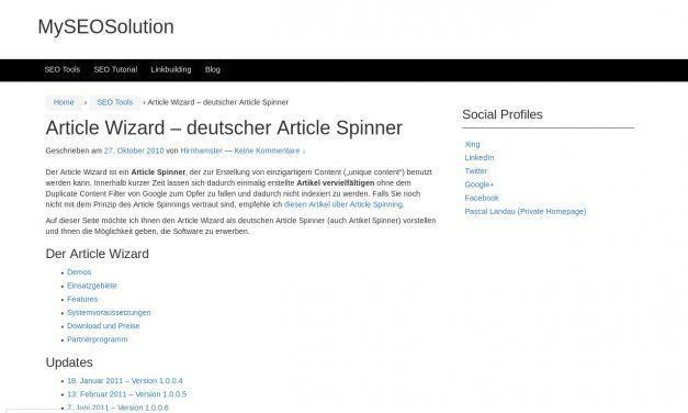 Article Wizard – deutscher Article Spinner | MySEOSolution