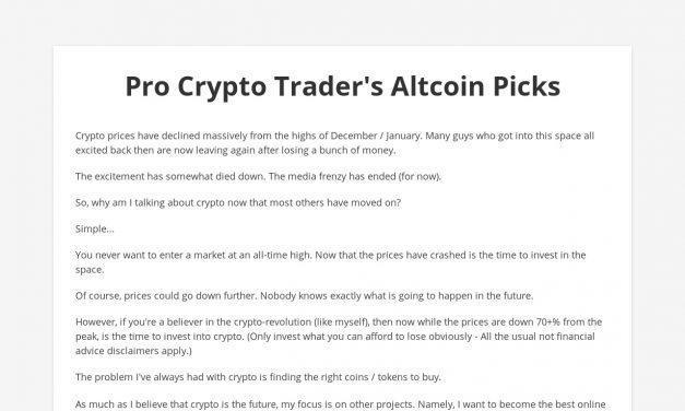 Copy of Pro Crypto Trader Gives You His Top Altcoins – Start Selling Stuff