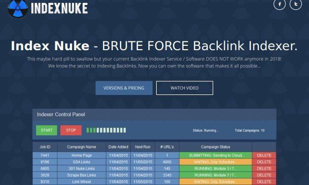 Index Nuke – BRUTE FORCE Backlink Indexer (Software + Cloud Hybrid)