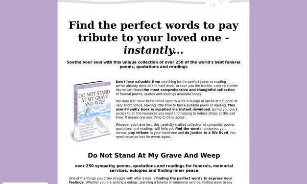 Do Not Stand At My Grave And Weep – Over 250 funeral poems, instantly
